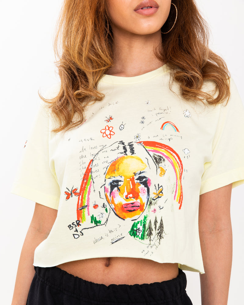 Pierrot Yellow Crop Tee