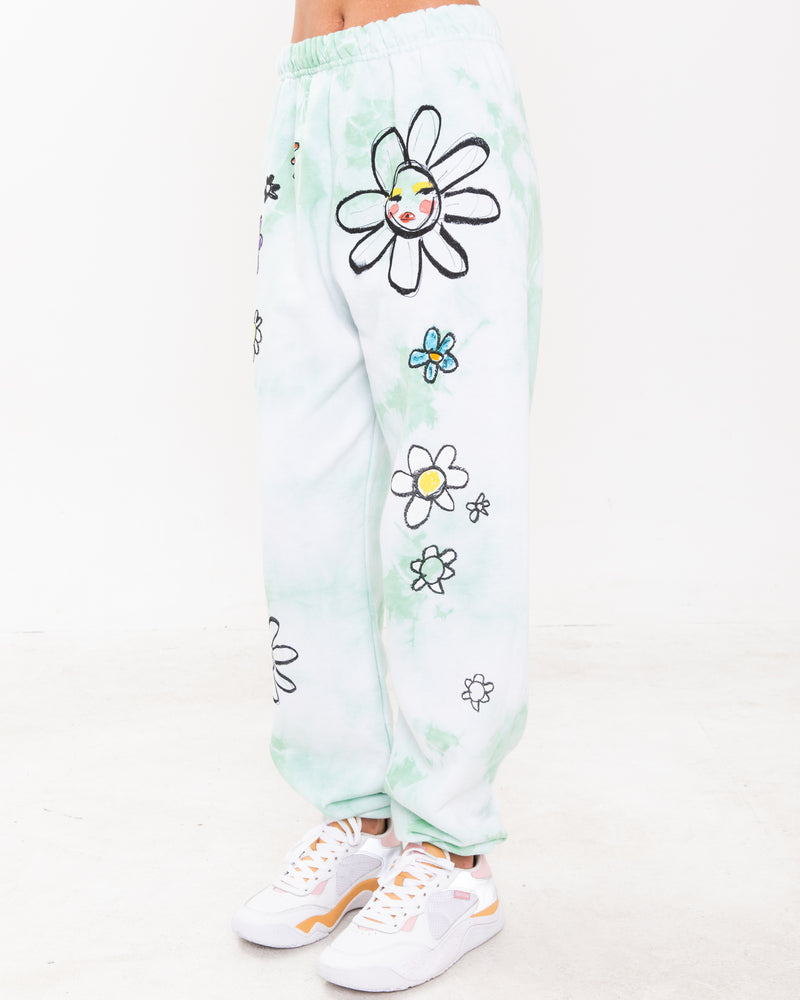 Eat The Daisies Green Tie-Dye Sweatpants