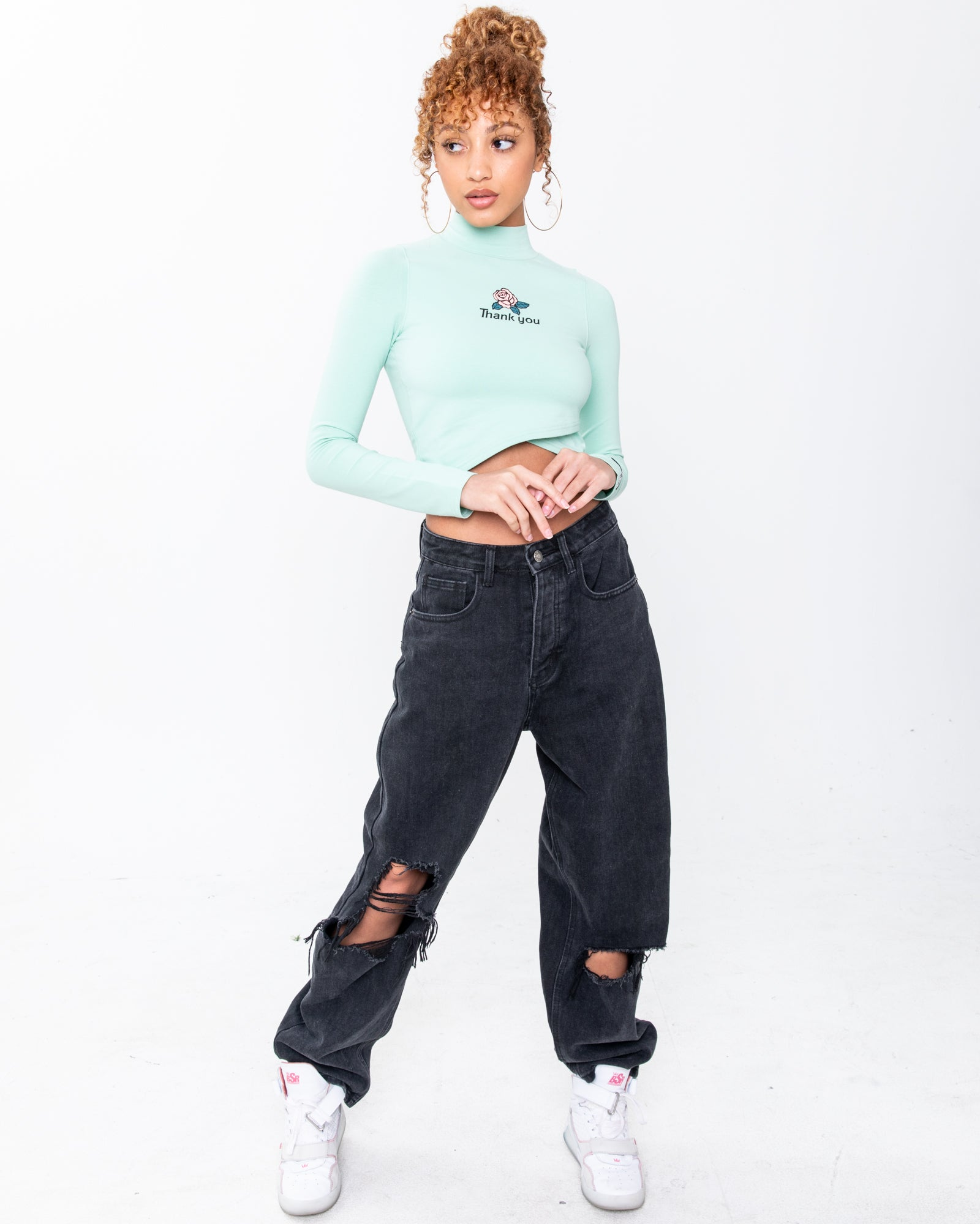 Double Crossed Seafoam Mock Neck Long Sleeve