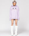 lavender oversized hoodie with anime eyes and kanji