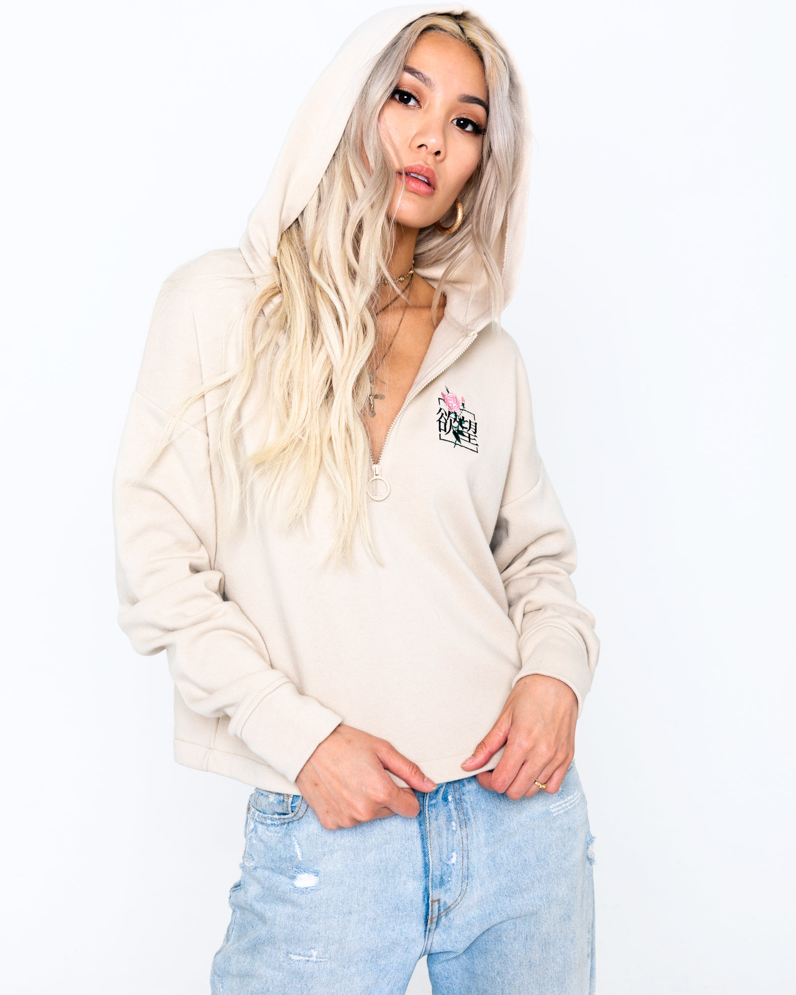 Lust Rose Tan O-Ring Hoodie
