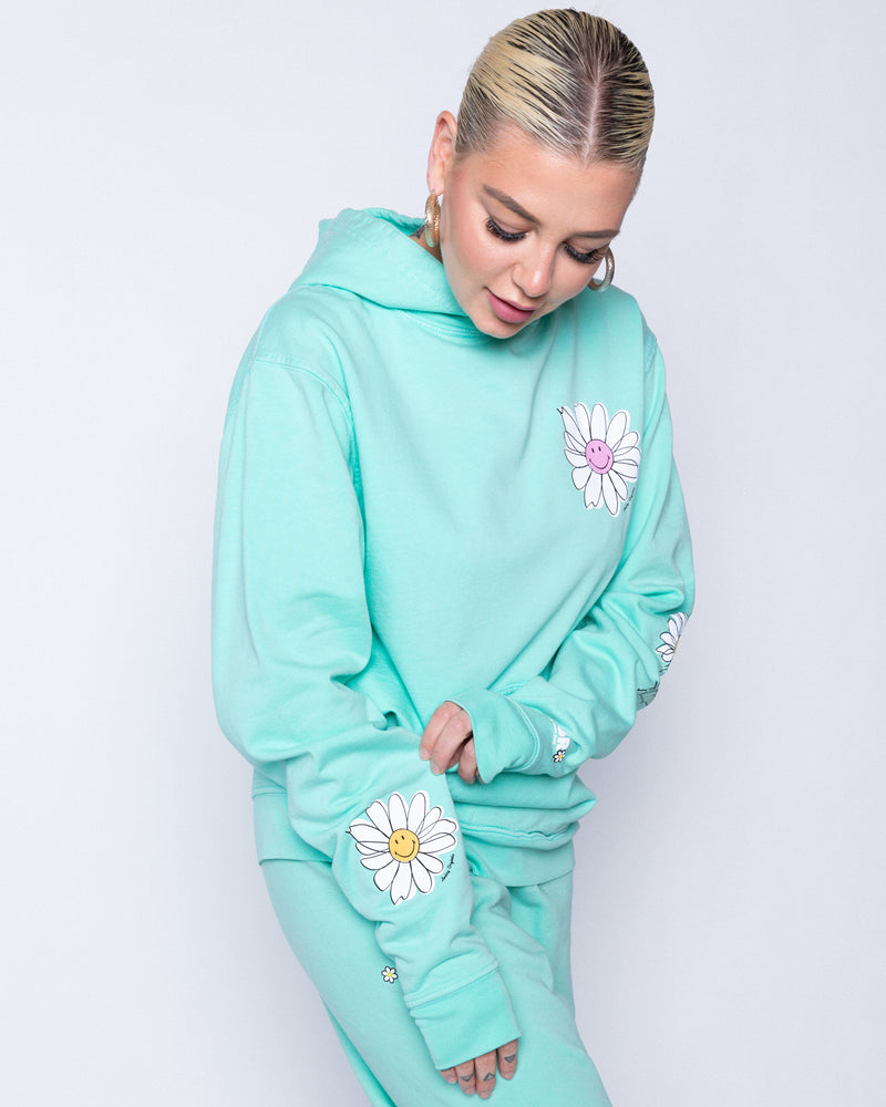 Smiley In Bloom Mint Hoodie