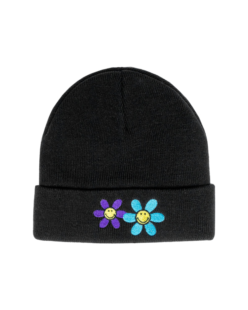 Smiley Hazy Daisy Beanie, Black