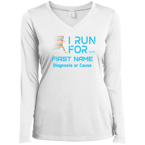 Personalized I Run For Ladies V-neck Long Sleeve Tee