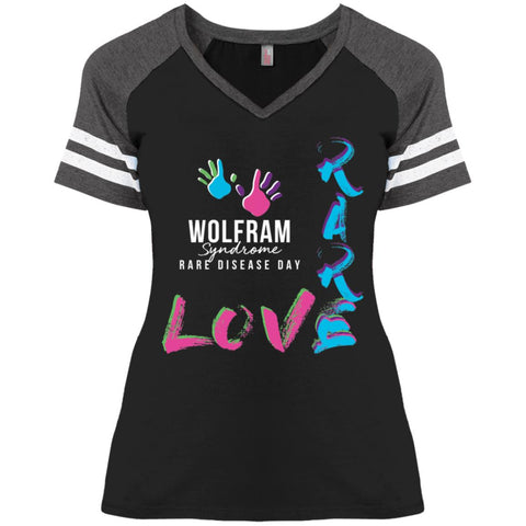 "Wolfram Syndrome ""Love Rare"" Ladies V-neck Striped Tee"