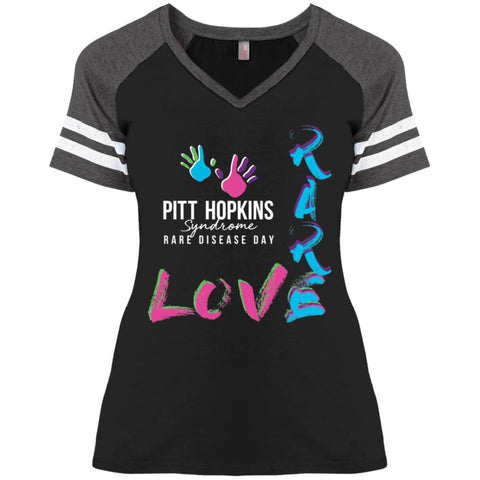 "PTHS ""Love Rare"" Ladies V-neck Striped Tee"