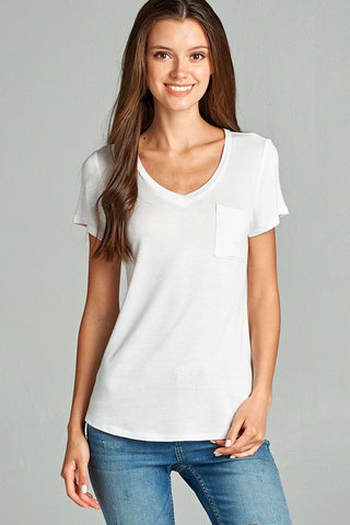 Basic V-Neck Tee WHITE