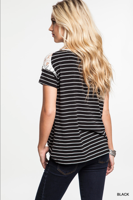 Striped Lace Detail Tee