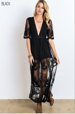 Black Lace Romper Dress