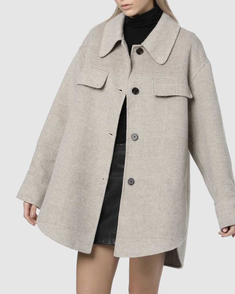 POCKET WOOL JACKET - Pale Oatmeal