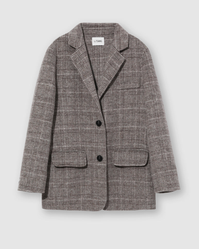 PLAID WOOL BLAZER  - Greige