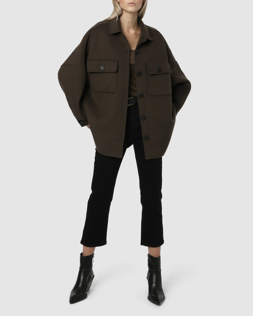 OVERSIZED WOOL JACKET - Major Brown