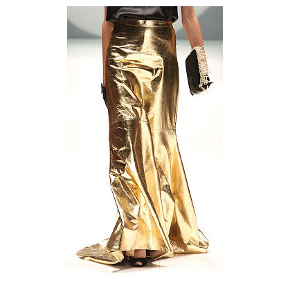 Johanna Johnson haute couture gold leather maxi skirt sz 4/6