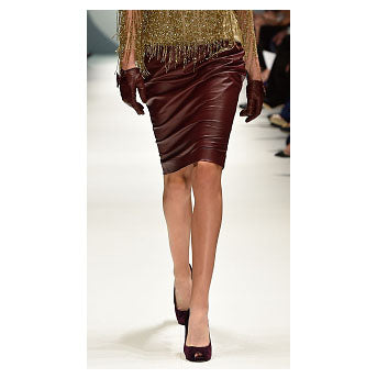 Johanna Johnson haute couture burgundy leather pencil skirt sz 4/6