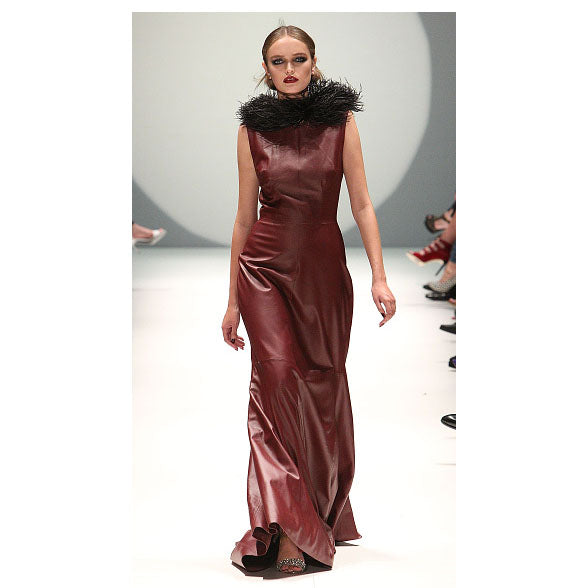 Johanna Johnson haute couture burgundy leather maxi dress sz 6