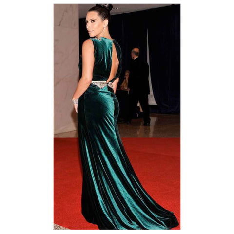 Johanna Johnson haute couture emerald embroidered satin evening gown sz 4/6
