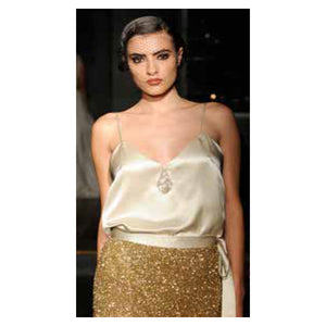 Johanna Johnson haute couture cream satin embroidered evening top sz 6