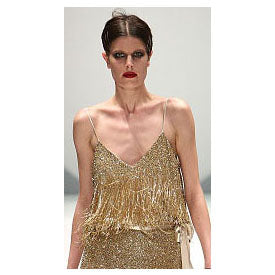 Johanna Johnson haute couture gold beaded evening top sz 6