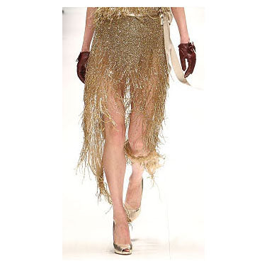 Johanna Johnson haute couture gold beaded midi skirt sz 6