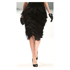 Johanna Johnson haute couture Black wool and feathers skirt sz 6
