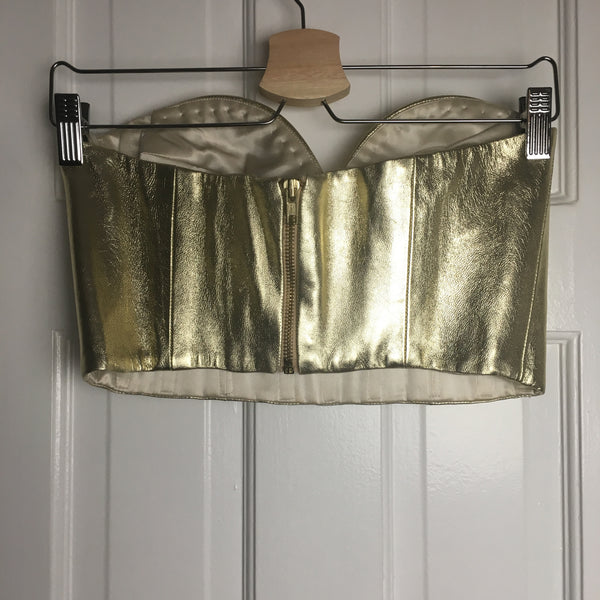 Johanna Johnson haute couture gold leather bustier sz 6