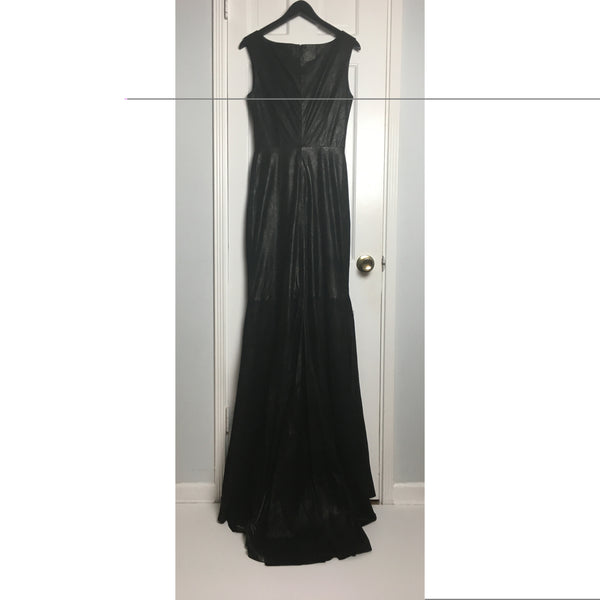 Johanna Johnson haute couture black leather maxi dress sz 6