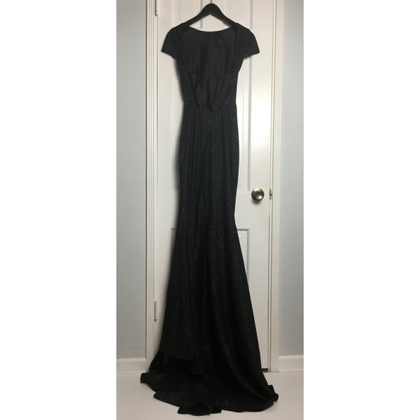 Johanna Johnson haute couture black soft shiny wool evening gown sz 4/6