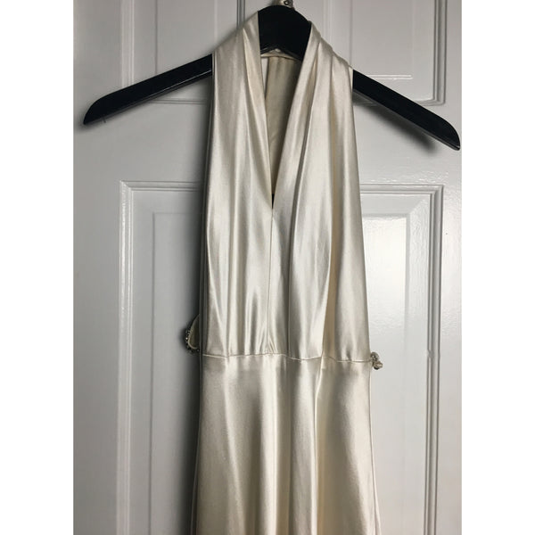 Johanna Johnson haute couture cream satin embroidered evening gown sz 6