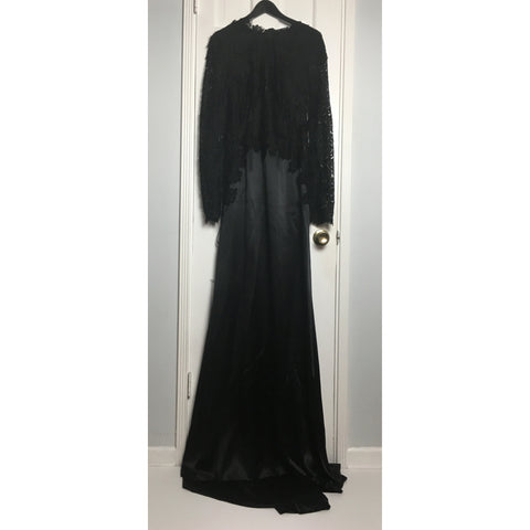 Johanna Johnson haute couture black satin and lace evening gown sz 6/8