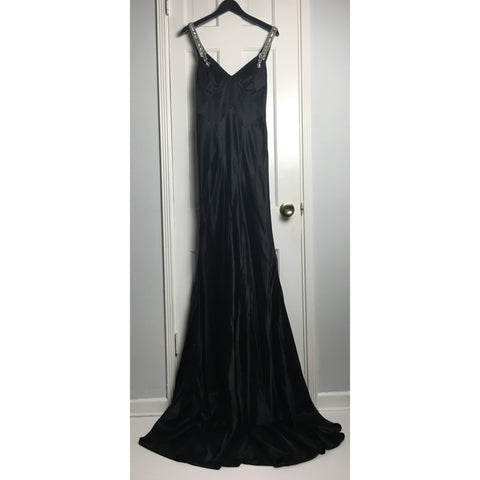 Johanna Johnson haute couture black embroidered satin evening gown sz 6