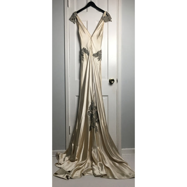 Johanna Johnson haute couture cream embroidered satin evening gown sz 6