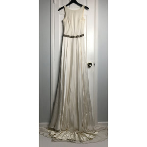 Johanna Johnson haute couture cream embroidered satin & tulle evening gown sz 6