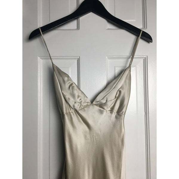Johanna Johnson haute couture cream satin evening gown sz 6