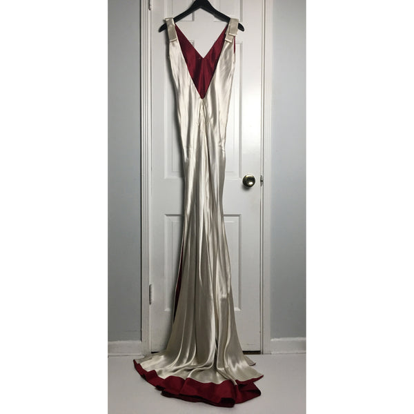 Johanna Johnson haute couture cream and red satin evening gown sz 6