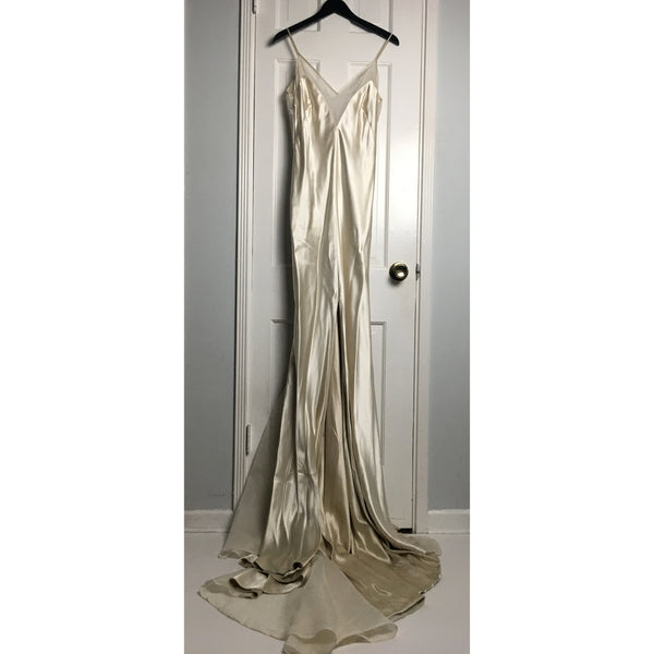 Johanna Johnson haute couture cream satin and voile evening gown sz 6