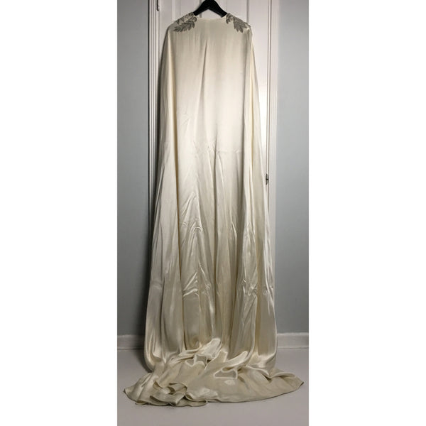 Johanna Johnson haute couture cream long evening cape OS