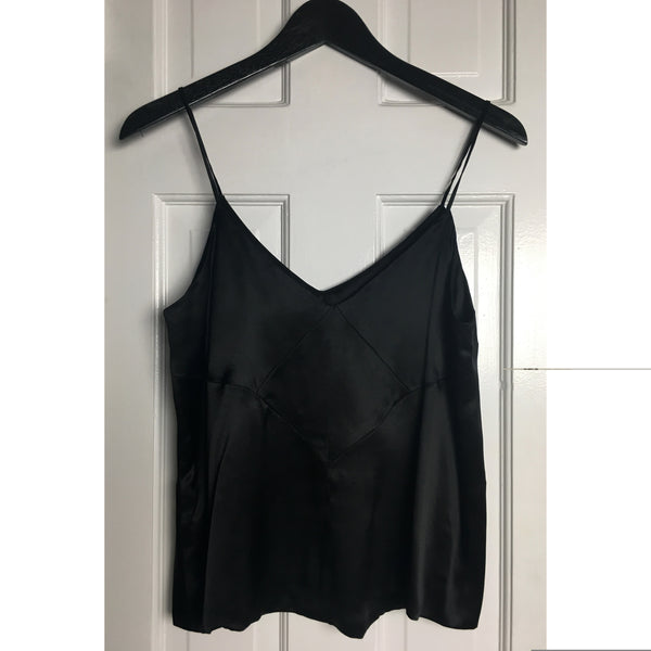 Johanna Johnson haute couture black satin evening top sz 6
