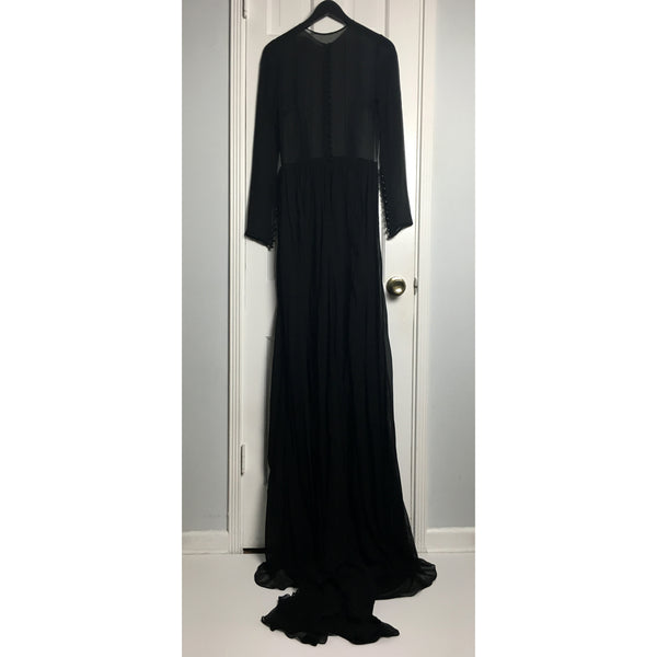 Johanna Johnson haute couture black voile sheer evening gown sz 4/6