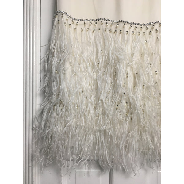 Johanna Johnson haute couture white voile and feathers midi dress sz 6