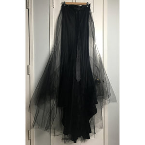Johanna Johnson haute couture black satin and tulle maxi skirt sz 6