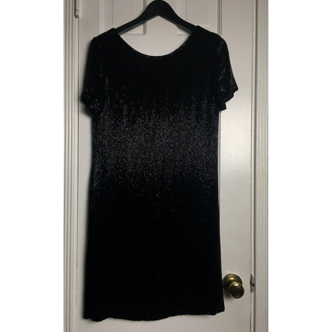 Johanna Johnson haute couture black beaded midi dress sz 6