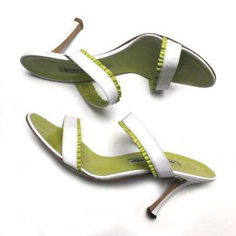 Manolo Blahnik women's white & lime leather sandals sz 8 ½