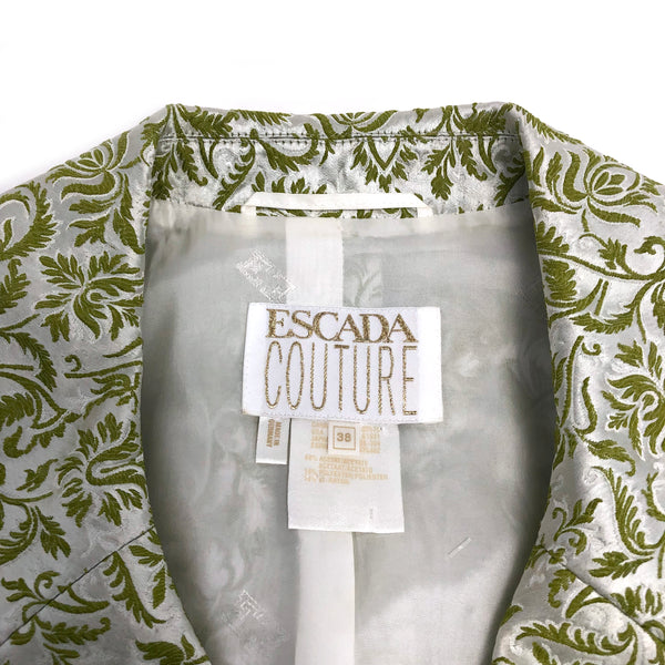 Escada Couture women's green and silver brocade skirt suit sz 8