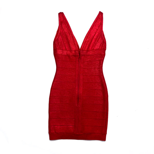 Herve Leger red rayon bandage sheath dress sz S