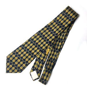 Hermes authentic vintage blue and gold silk tie one size