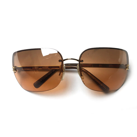 Chanel metal frame orange sunglasses