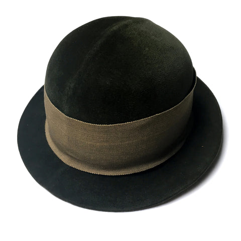 Valentino boutique green felt bowler hat sz 57