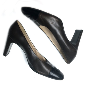 Chanel authentic vintage black & brown pumps sz 9 ½