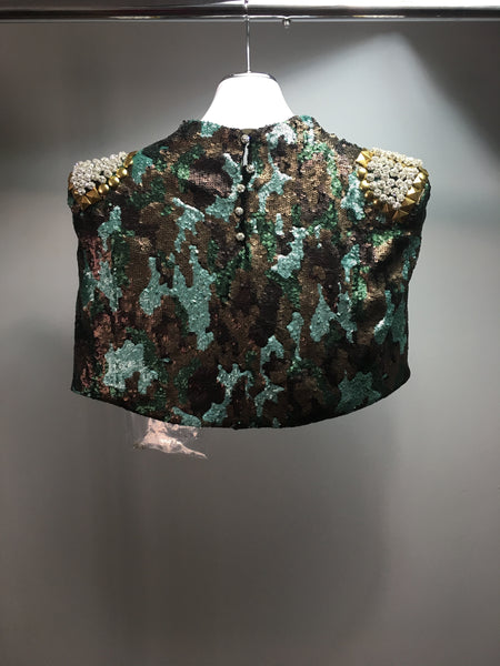 Cristina Pacini camouflage sequins embroidered Haute Couture evening cape sz. 0 to 6
