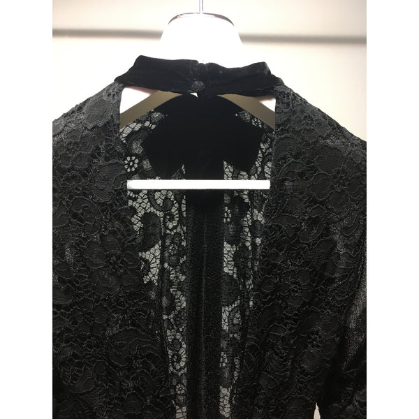 Cristina Pacini black lace & velvet long sleeve haute Couture cocktail dress sz 2/4